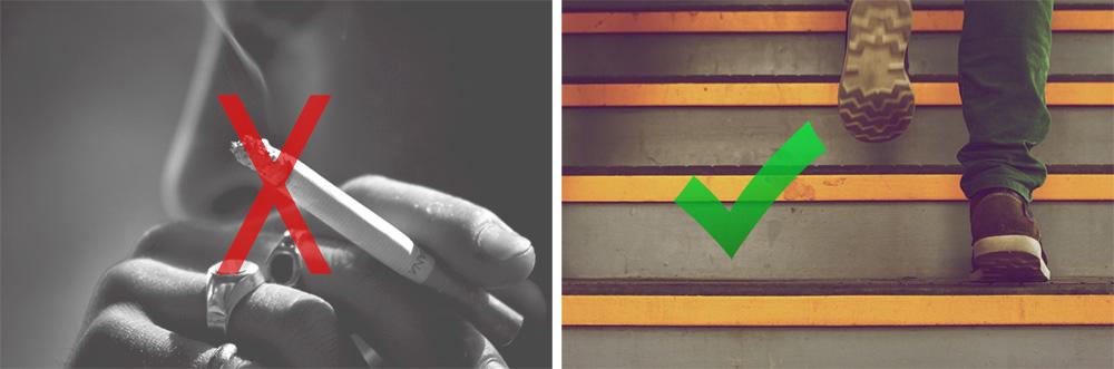 smoking versus walking