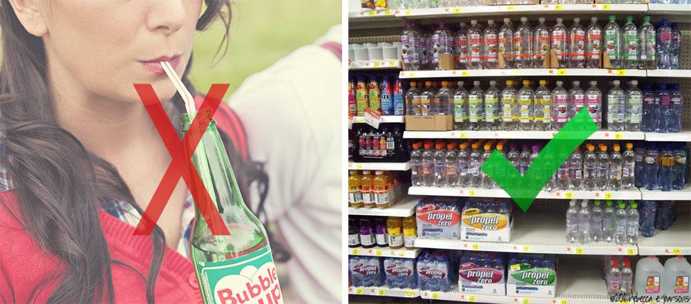Soda versus fizzy water