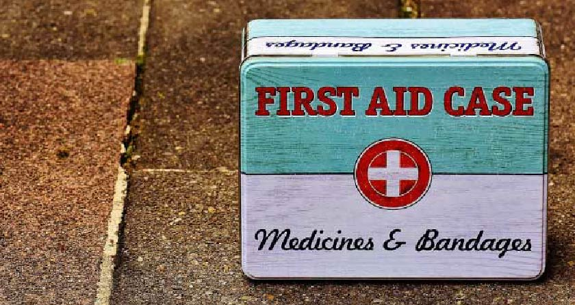 first aid kit box medicine bandaids emergency